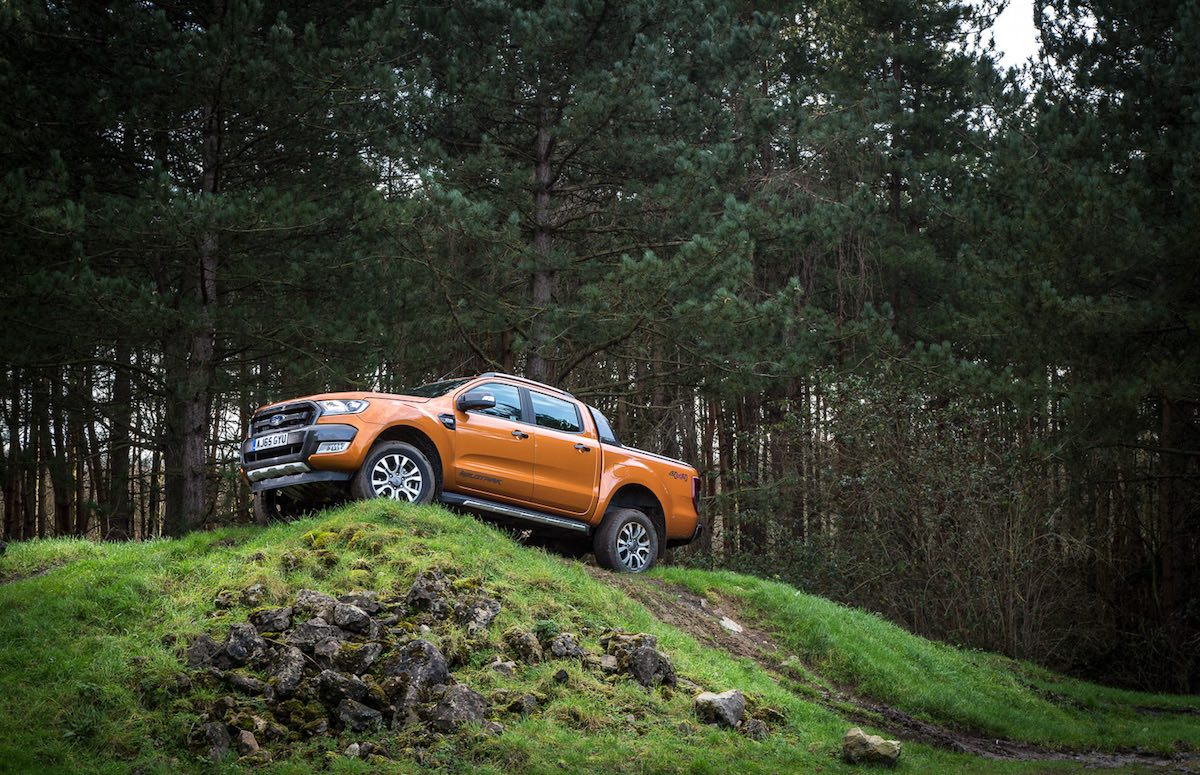 Ford Ranger cresting a ridge