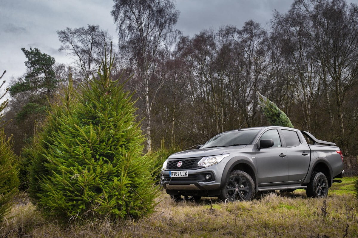 Fiat Fullback with Christmas tree in tray