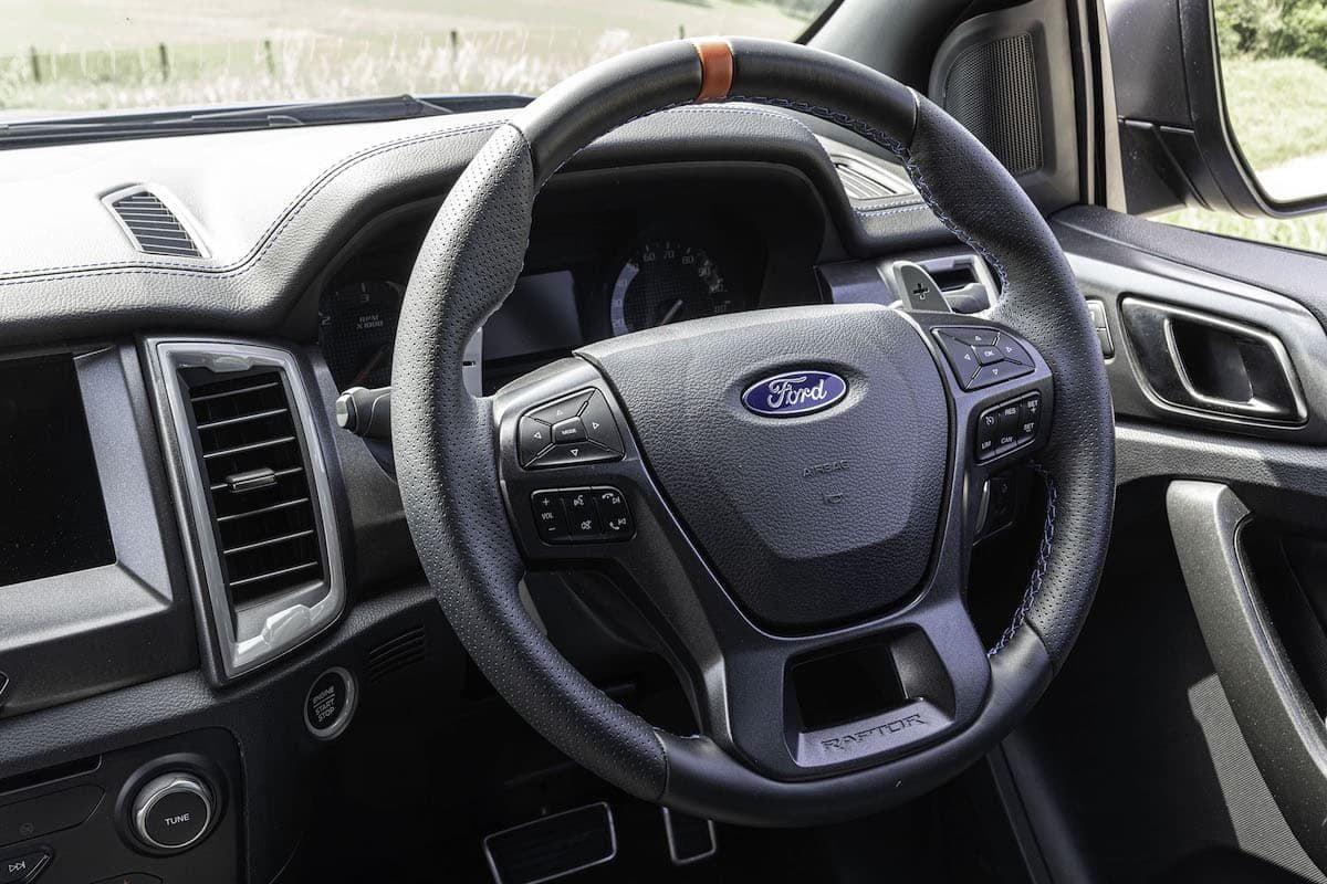 Ford Ranger Raptor review 2019 - steering wheel | The Van Expert