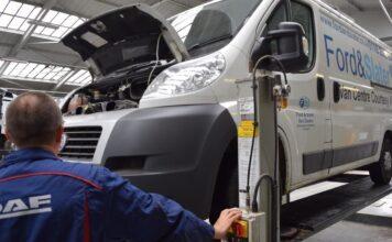 Van undergoing MOT test